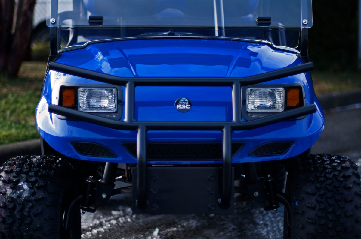 Blue AGT Golf Cart with lift kit
